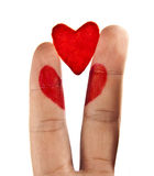 Simbol of heart painted on hand Stock Photo