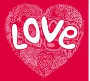 Simbol rojo del corazón de la tarjeta del día de San Valentín ilustración del vector