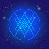 Simbol sacré de la géométrie dans l'espace La géométrie 3d symbolique cercle polygonal de connexion illustration libre de droits
