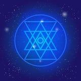 Simbol sacro della geometria nello spazio La geometria 3d simbolica poligonale firmi dentro il cerchio royalty illustrazione gratis