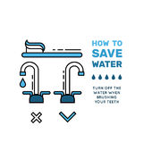 Simbol saving water. Illustration with tips on saving water consumption by man in a house to reduce financial costs and reduce the amount of accounts with water Stock Image