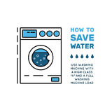 Simbol saving water. Illustration with tips on saving water consumption by man in a house to reduce financial costs and reduce the amount of accounts with water Royalty Free Stock Image