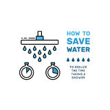 Simbol saving water. Illustration with tips on saving water consumption by man in a house to reduce financial costs and reduce the amount of accounts with water Stock Photos