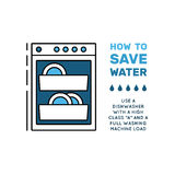 Simbol saving water. Illustration with tips on saving water consumption by man in a house to reduce financial costs and reduce the amount of accounts with water Stock Photography