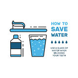 Simbol saving water. Illustration with tips on saving water consumption by man in a house to reduce financial costs and reduce the amount of accounts with water Stock Images