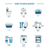 Simbol saving water. Illustration with tips on saving water consumption by man in a house to reduce financial costs and reduce the amount of accounts with water Royalty Free Stock Photo