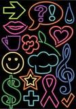 Simboli al neon Fotografie Stock Libere da Diritti
