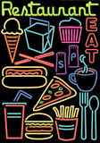 Simboli al neon alimento/del ristorante Fotografie Stock