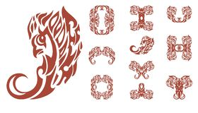 Simboli ardenti dell'uccello su un fondo bianco royalty illustrazione gratis
