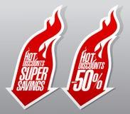 Simboli ardenti di sconti caldi Immagine Stock
