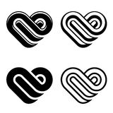 Simboli astratti di bianco del nero del cuore Fotografia Stock