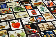 Simboli britannici sui francobolli Immagine Stock Libera da Diritti