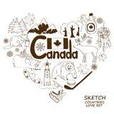 Simboli canadesi nel concetto di forma del cuore Immagine Stock