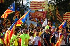 Simboli catalani alla manifestazione di indipendenza di Diada Immagine Stock Libera da Diritti