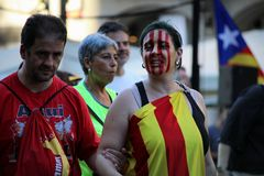 Simboli catalani alla manifestazione di indipendenza di Diada Fotografie Stock