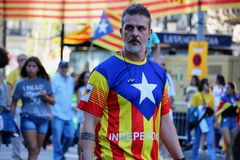 Simboli catalani alla manifestazione di indipendenza di Diada Immagini Stock Libere da Diritti