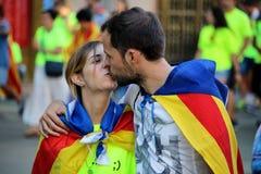 Simboli catalani alla manifestazione di indipendenza di Diada Immagine Stock