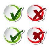 Simboli circolari del segno di spunta Immagini Stock Libere da Diritti