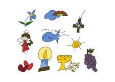 Simboli cristiani per i bambini Fotografie Stock Libere da Diritti