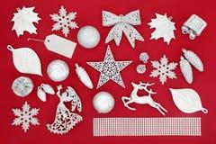 Simboli d'argento del Natale Immagini Stock
