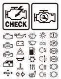 Simboli d'avvertimento dell'automobile Immagini Stock