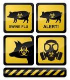 Simboli d'avvertimento di influenza dei maiali illustrazione vettoriale