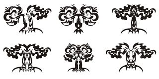 Simboli decorativi tribali dell'albero Immagine Stock Libera da Diritti