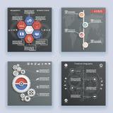 Simboli degli elementi di Infographics e modello d'annata di progettazione di stile di cronologia della mappa di mondo delle icon Immagine Stock