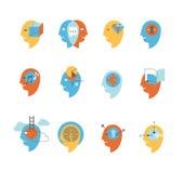 Simboli degli stati di mente umana Immagine Stock Libera da Diritti