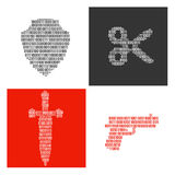 Simboli dei simboli binari dentro riempiti armi Immagini Stock