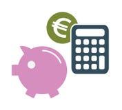Simboli dei soldi di risparmio dell'euro Fotografia Stock