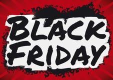 Simboli dei soldi e segno scuri per le vendite di Black Friday, illustrazione di pennellata di vettore Immagini Stock