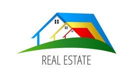 Simboli del bene immobile - tetti delle case e delle costruzioni, un tal logo Fotografia Stock