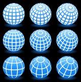 Simboli del blocco per grafici del collegare del globo Fotografie Stock Libere da Diritti