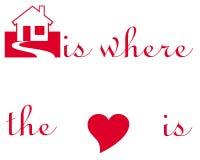 Simboli del cuore e della casa Fotografia Stock Libera da Diritti