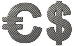 Simboli del dollaro americano e dell'euro della fonte della fibra del carbonio Immagini Stock