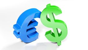Simboli del dollaro e dell'euro - rappresentazione 3D Fotografia Stock