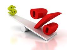 Simboli del dollaro e delle percentuali sull'equilibrio delle scale Fotografia Stock