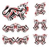 Simboli del gatto nei toni rossi e neri Fotografia Stock