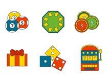 Simboli del giocatore del poker delle icone del gioco del casinò Immagine Stock