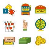 Simboli del giocatore del poker delle icone del gioco del casinò Fotografia Stock Libera da Diritti