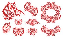 Simboli del lupo rosso Immagine Stock Libera da Diritti