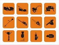 Simboli del macchinario del giardino fotografie stock libere da diritti