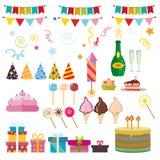 Simboli del partito di buon compleanno Fotografia Stock