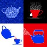 Simboli del partito di tè Immagine Stock