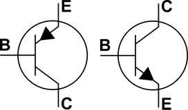 Simboli del transistore NPN PNP Fotografia Stock Libera da Diritti