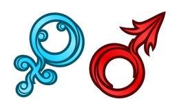 Simboli del Venus e del Marte illustrazione vettoriale