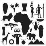 Simboli dell'Africa ed insieme di vettore di viaggio Fotografie Stock