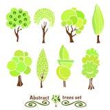 Simboli dell'albero Insieme disegnato a mano della raccolta di progettazione degli alberi Insieme astratto di vettore delle silue Fotografia Stock