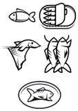 Simboli dell'alimento di pesci Fotografia Stock Libera da Diritti